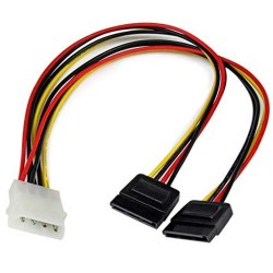 Power Cable Y 1x Molex Female to 2x Sata Power Male