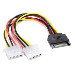 Power Cable Y 1x Sata Power Female to 2x Molex Male