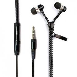 Zipper Earphones with microphone metallic for Smarphone Black