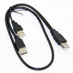 USB Male Dual Cable 2x Type A to USB Type A