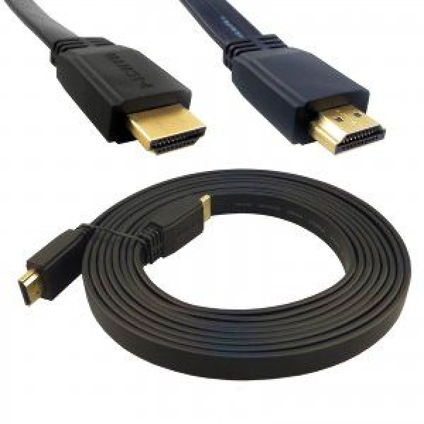 1.5m HDMI Cable Flat v1.4 Ultra HD Gold Plated with High Speed Ethernet HDTV 4K 3D RoHS 1080p
