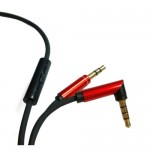 Audio Cable 3.5mm Male to 3.5mm Male 1m Stereo 90 Angle for Mobile Headphone with Microphone