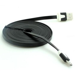 Universal Mobile Phone Cable 3m Flat Micro 5p USB 2.0 Data Charging Android Black