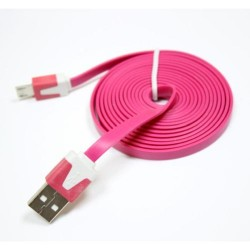 Universal Mobile Phone Cable 3m Flat Micro 5p USB 2.0 Data Charging Android Pink