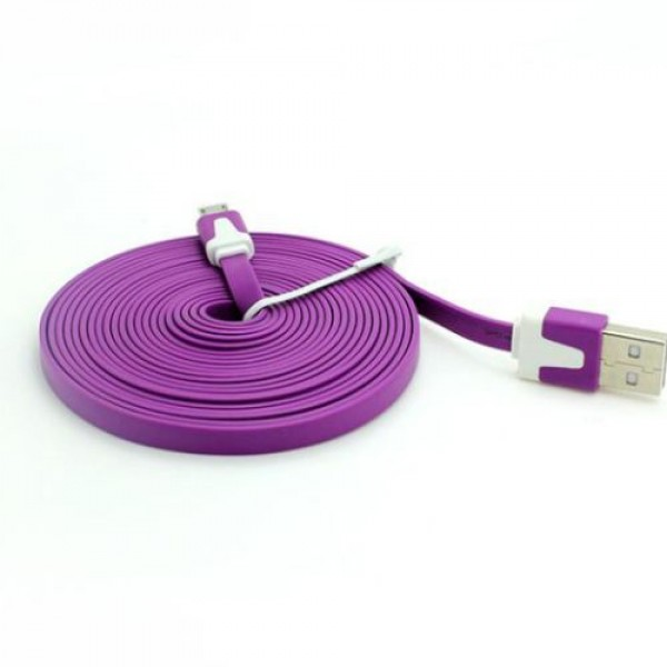 Universal Mobile Phone Cable 3m Flat Micro 5p USB 2.0 Data Charging Android Purple
