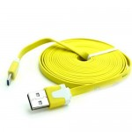 Universal Mobile Phone Cable 3m Flat Micro 5p USB 2.0 Data Charging Android Yellow
