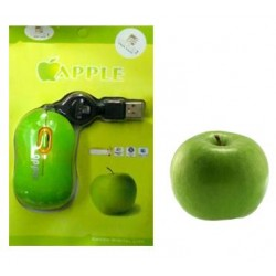Mouse USB retractable green apple