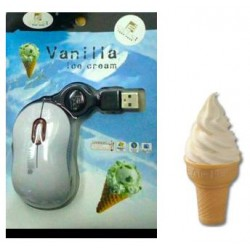 Mouse USB retractable vanilla ice cream