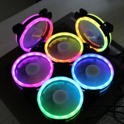 7x Automatic LED Color Illuminated Computer Cooler 120mm 12cm 4 + 3 Pin Cooling Fan Ultra Silent Gaming