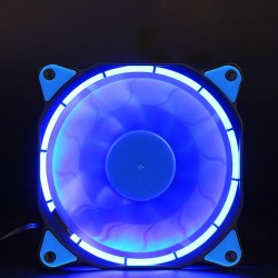 LED Illuminated Computer Cooler 120mm 12cm 4 + 3 Pin Cooling Fan Ultra Silent BLUE Gaming