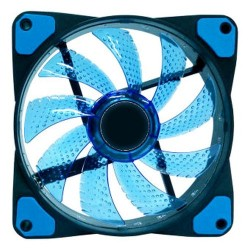 15 LED Illuminated Computer Cooler 120mm 12cm 4 + 3 Pin Cooling Fan Ultra Silent Blue Gaming