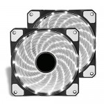 15x LED Illuminated Computer Cooler 120mm 12cm 4 + 3 Pin Cooling Fan Ultra Silent White Gaming