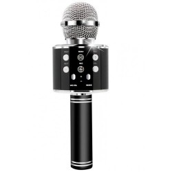 Wireless Microphone Bluetooth Karaoke with Hi-Fi Bluetooth Speaker Audio Recording Black WS-858