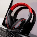 USB Gaming Headset CY-519 Black & Red Big Headphones Super Bass with Microphone for Gamers