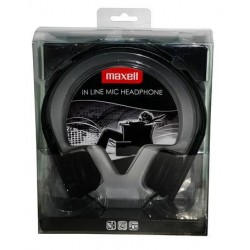 Maxell HP-Mic Leather Headphones Black with microphone