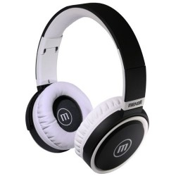 Maxell B52 Big Headphone Deep BASS Leather Foldable built in microphone White