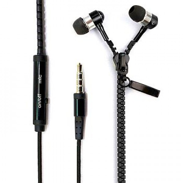 Zipper Earphones with microphone metallic for Smarphone Black