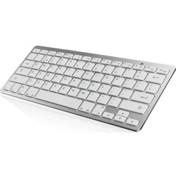 Wireless Bluetooth Keyboard Ultra Slim IOS Android Windows White Silver