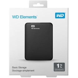 WD Elements 1TB USB 3.0 HDD Portable Drive Black WDBEPK0010BBK-0B