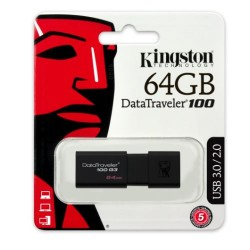 Kingston 64GB USB 3.0 Data Traveler 100 Stick Flash Drive Black