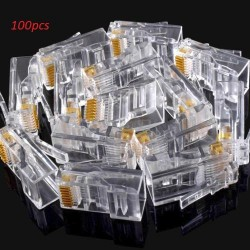 100pcs RJ45 Crystal Head CAT5 LAN Network Connector 8P8C Gold Plated