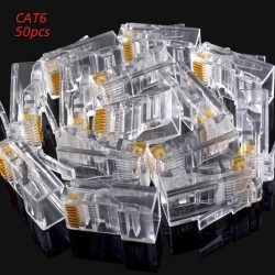50pcs RJ45 Crystal Head CAT6 LAN Network Connector 8P8C Gold Plated